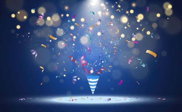 Brilhos de luz especiais. efeito de luz bokeh com cone de festa e confetes coloridos