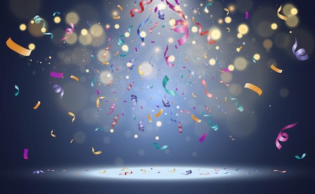 Brilhos de luz especiais. efeito de luz bokeh com confetes coloridos