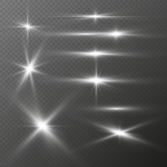 Brilhos de luz realistas ajustados brilho de prata brilhando com efeitos de luz de estrelas de clarões de flash