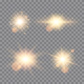 Brilhos de luzes douradas isolados. conjunto de estrelas brilhantes
