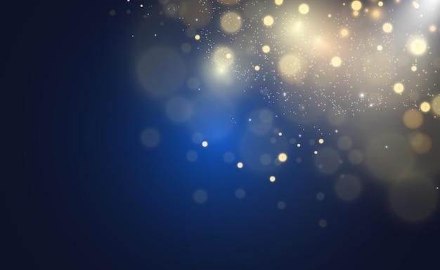 Brilhos de ouro, bokeh de luz brilhante.