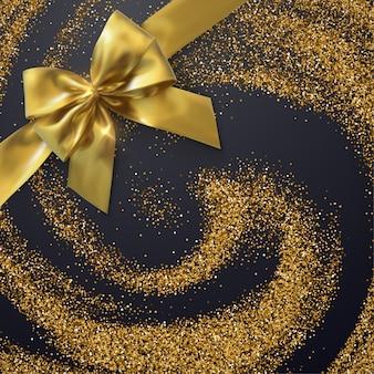 Brilhos de roda do ouro com curva dourada. hidromassagem de partículas brilhantes. textura cintilante. ouropel decorativo de férias