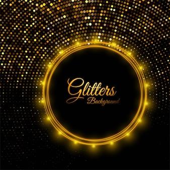 Brilhos dourados brilhantes bonitos no preto