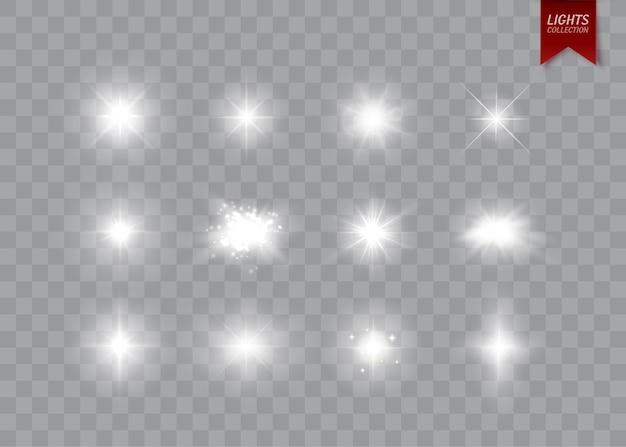 Brilhos e estrelas isolaram efeitos de luz brilhante com faíscas e chamas