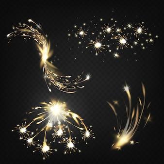 Brilhos ou partículas em chamas