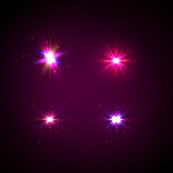 Brilhos, reflexo de lente, explosão, brilho, linha, raio de sol, faísca, estrelas. luz roxa brilhante