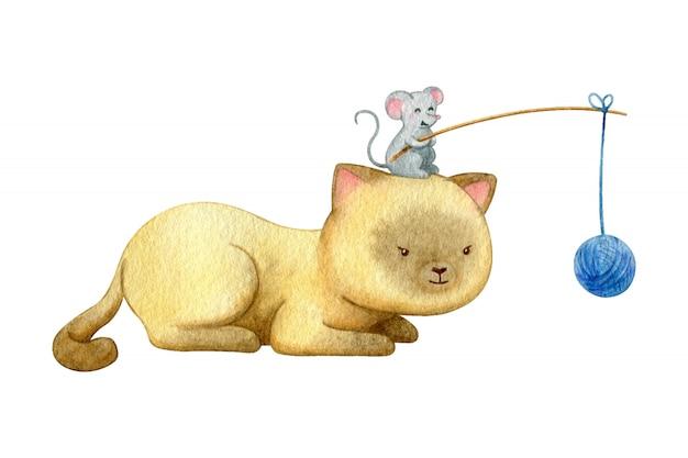 Brincalhão gato caçar uma bola de fios. rato brincar com gato. ilustração em aquarela de dois amigos.