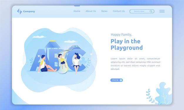 Brincar com as crianças no playground no modelo da página de destino