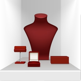 Brincos colar vermelho e pulseira stand para jóias com caixa