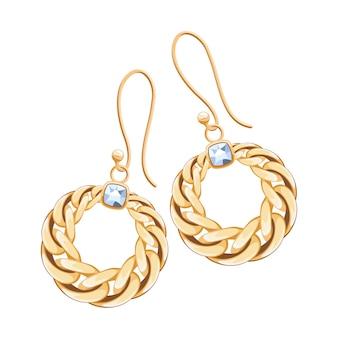 Brincos com corrente dourada e cravejados de diamantes. ilustração de joias.
