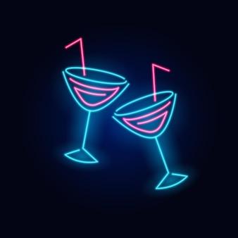 Brinde brinde néon coquetel de moda letreiro luminoso noturno