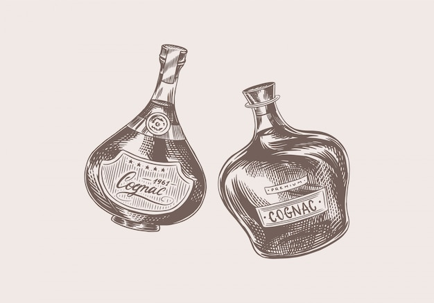Brinde de saúde. emblema do conhaque vintage. rótulo de álcool para o banner do cartaz. garrafa de conhaque com bebida forte. mão desenhada desenho gravado letras para t-shirt.