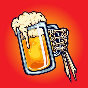 Brinde de vidro de cerveja brinde ossos de mão ilustrações vetoriais para seu trabalho logotipo, t-shirt da mercadoria do mascote, adesivos e designs de etiquetas, cartazes, cartões comemorativos anunciando empresas ou marcas.