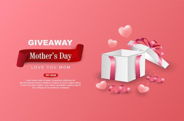 Brinde feliz dia das mães com caixa de presente aberta
