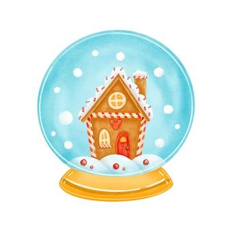Brinquedo bonito dos desenhos animados do globo de neve de natal com casa de gengibre