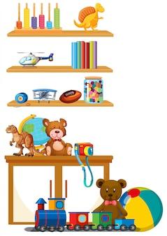 Brinquedo das crianças na prateleira