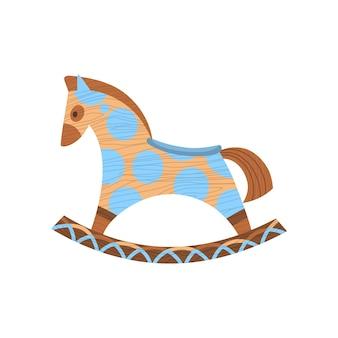 Brinquedo de criança de madeira. figura ecológica de dispositivo para crianças. cavalo de balanço. desenho retro dos desenhos animados jogando