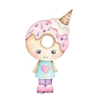 Brinquedo de donut de sobremesa de desenho animado