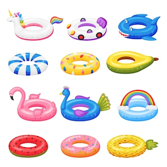 Brinquedo de natação conjunto de anéis infláveis de borracha de desenho animado em várias formas. conjunto de vetores de melancia unicórnio flamingo
