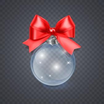 Brinquedo de natal de vidro em um fundo transparente decorações de natal objeto transparente