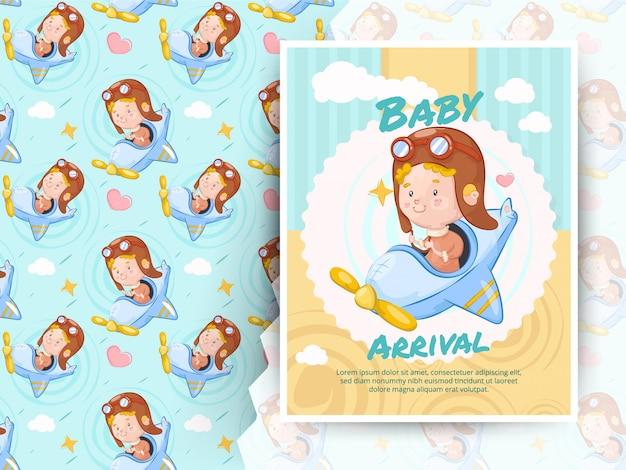 Brinquedo do plano de ar da equitação do rapaz pequeno. cartão de chegada do bebê e padrão