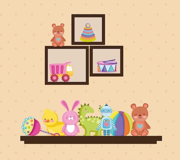 Brinquedo infantil desenho animado urso robô coelho