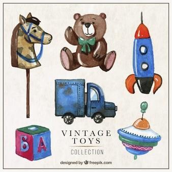 Brinquedos antigos embalar em estilo pintados à mão