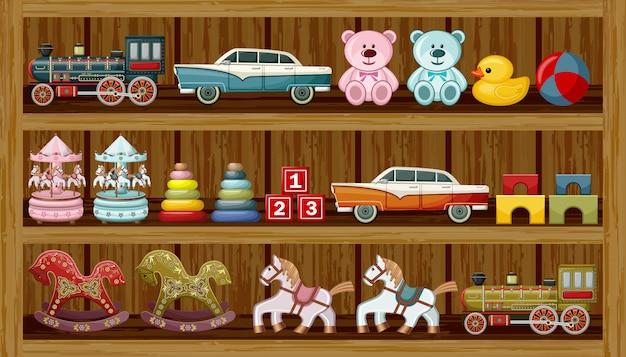 Brinquedos antigos na prateleira.