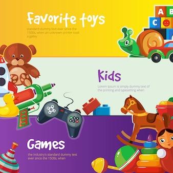Brinquedos banner modelos design plano