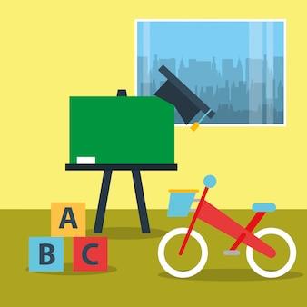 Brinquedos bicicleta blocos alfabeto e lousa em sala de aula