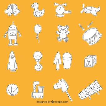 Brinquedos coleção esboçado