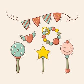 Brinquedos coloridos desenhados à mão, chocalhos, guirlanda festiva e um coração voador
