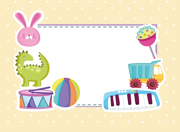 Brinquedos cumprimentando chocalho de coelho