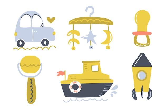 Brinquedos de bebê desenhados à mão, carro, navio, chupeta, foguete, chocalho, berçário, design