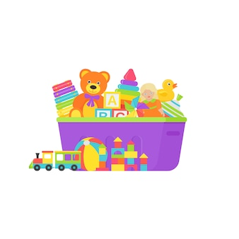Brinquedos de bebê em caixa. ilustração em design plano.