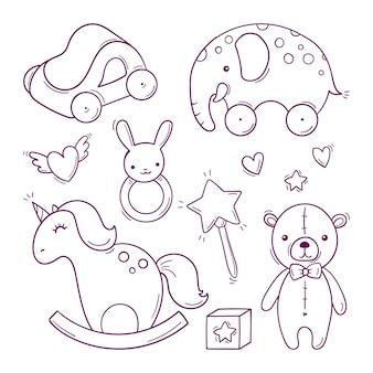 Brinquedos de bebê preto e branco desenhados à mão em estilo doodle