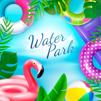 Brinquedos de borracha infláveis nadando fundo de anéis com texto ornamentado, rodeado por folhas tropicais e anéis internos