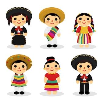 Brinquedos de criança mexicana com trajes tradicionais
