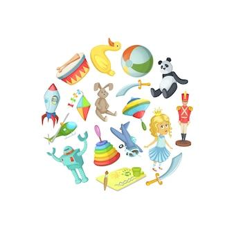 Brinquedos de crianças dos desenhos animados na ilustração de forma de círculo