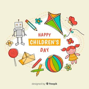 Brinquedos de dia das crianças desenhadas à mão