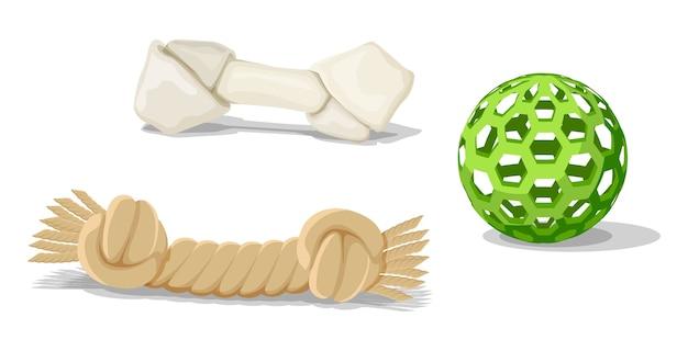 Brinquedos de gato ou cachorro estilo cartoon isolados no branco