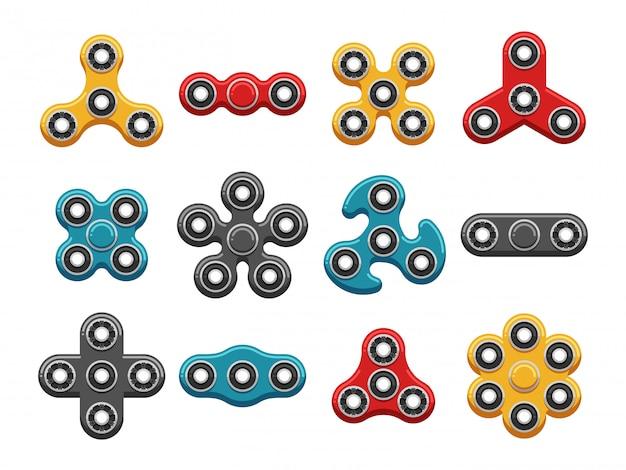 Brinquedos de mão spinner ícones lisos