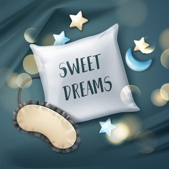 Brinquedos de máscara de dormir com travesseiro branco realista isolados em um lençol azul marinho