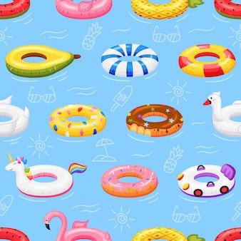 Brinquedos de piscina inflável de padrão sem emenda com anel de natação flutuando na textura de donut de unicórnio flamingo aquático