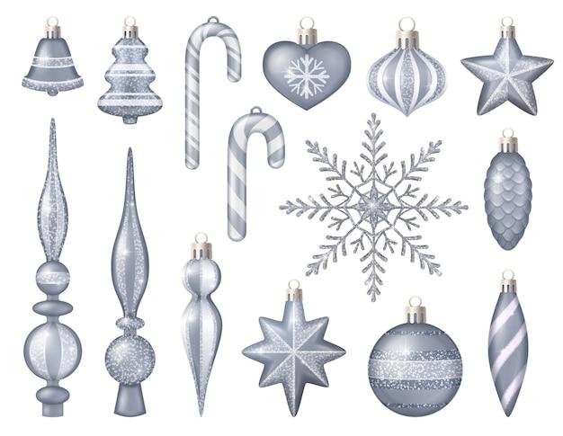 Brinquedos de prata brilhantes para árvores de natal isolados