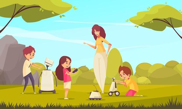 Brinquedos de robótica para crianças com crianças brincando na natureza sob a supervisão de uma mulher adulta