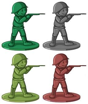 Brinquedos de soldado de plástico em quatro cores