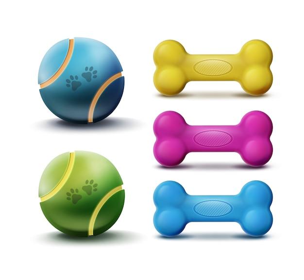 Brinquedos de vetor para animais de estimação com bolas e ossos coloridos de borracha isolados no fundo branco