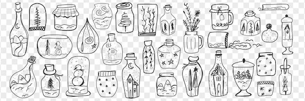 Brinquedos de vidro e bolas de neve doodle conjunto. coleção de copos desenhados à mão com decorações e acessórios decorativos para decoração de casa isolada