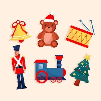 Brinquedos desejados por crianças design plano